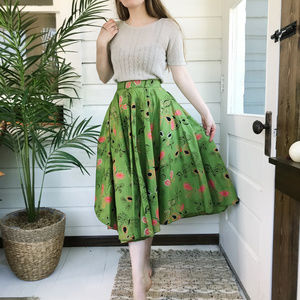 Vintage 50's Full Circle Butterfly Midi Skirt